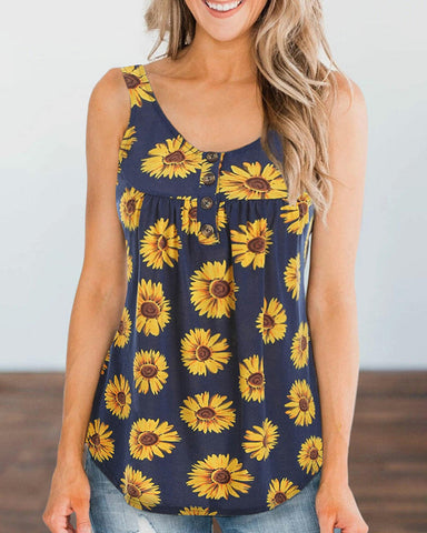 Sunflower Print Round Neck Thick Strap Blouse