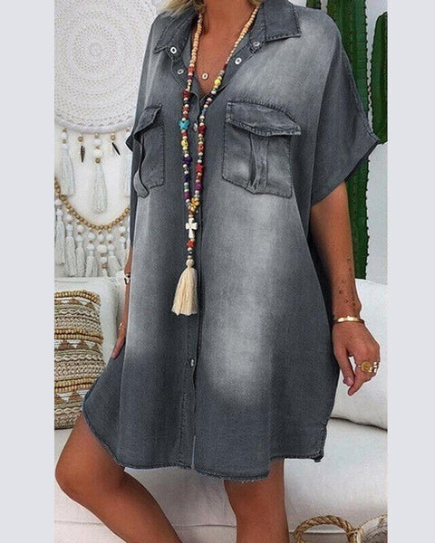 Denim Shirt Mini Dress