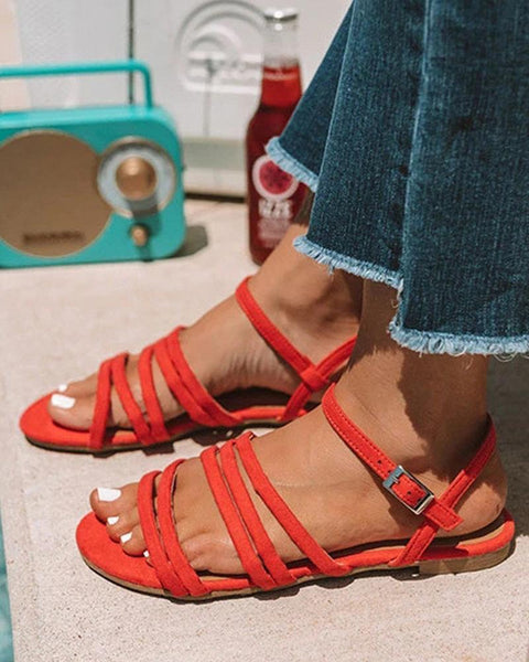Solid Suede Strappy Flat Sandals