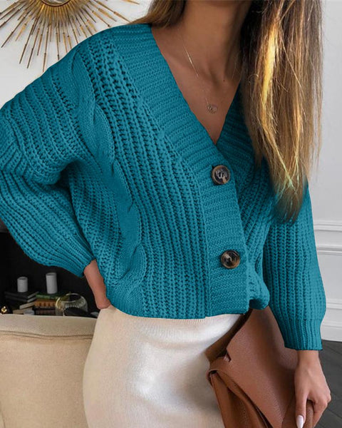 Solid Button Design Lantern Sleeve Knit Sweater