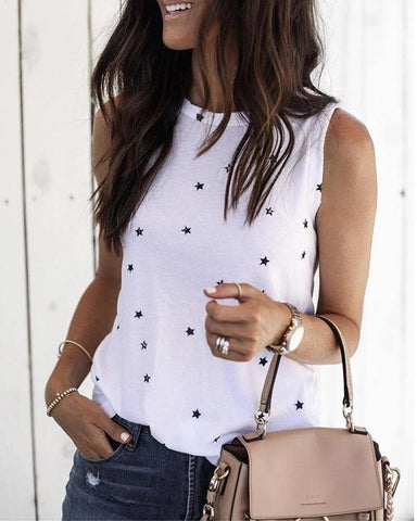 Round Neck Stars Print Sleeveless Casual T-shirt