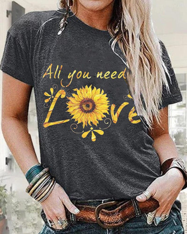 Sunflower Print Round Neck T-shirt