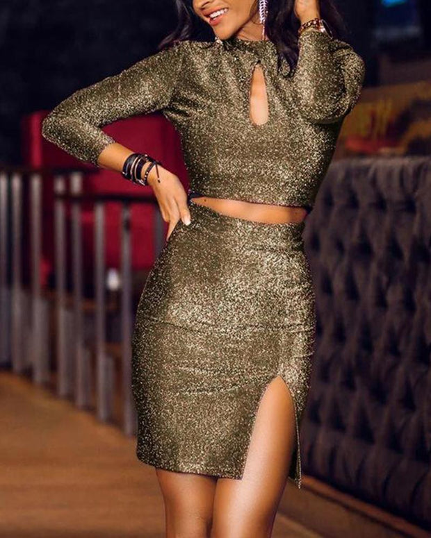 Sequin Keyhole Two-Piece Dress