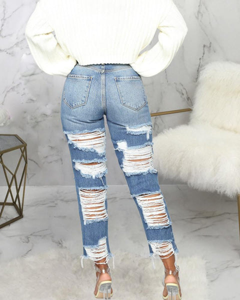 Ripped High-rise Skinny Jeans Pants