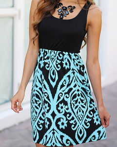 Vintage Print Patchwork Low Cut Sleeveless Mini Dress