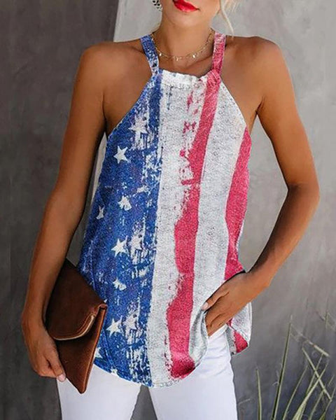Flag Print Sleeveless Casual Top