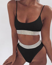 Sequin Trim Bikini Set