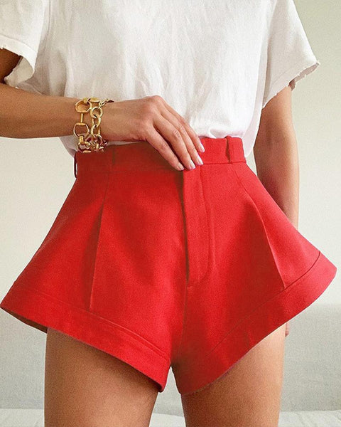 Solid High Waist Wide-leg Shorts