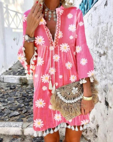 Daisy Print V Neck Tassel Dress