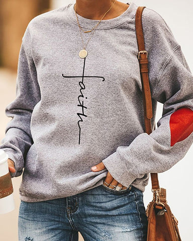 Long Sleeve Letter Red Heart Print  Casual Sweatshirt