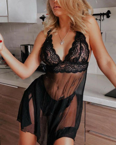 Solid Strap Mesh & Lace Patchwork Babydolls