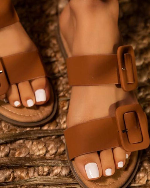 Brief Double Buckle Flat Sandals