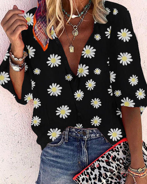 Brief Daisy Print Blouse Top