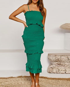 Solid Tiered Bodyon Midi Dress