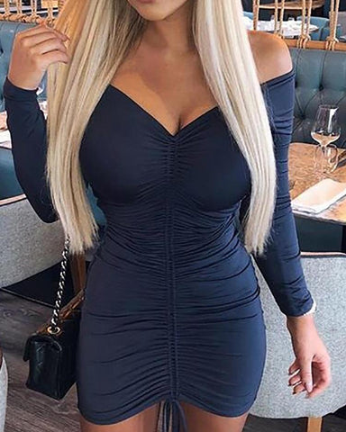Off Shoulder Drawstring Design Bodycon Dress