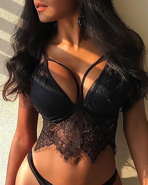 Eyelash Crochet Lace Low Cut Bra Set