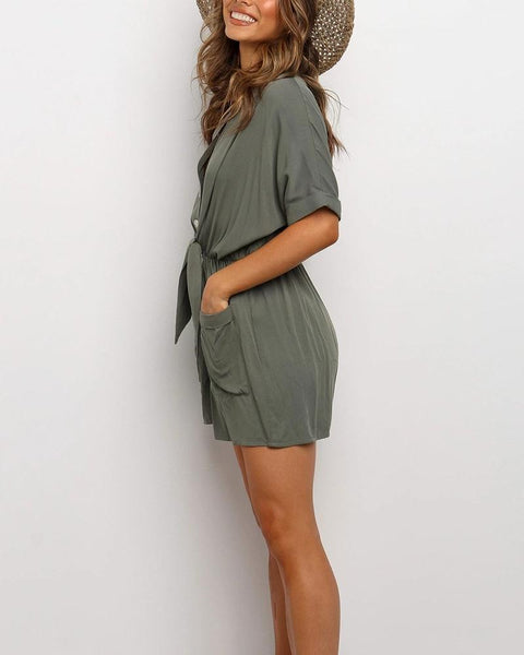 Solid Single-breasted Loose Short Sleeve Romper
