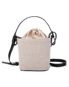 Colorblock Bucket Lace-up Shoulder Bags
