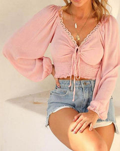 V-Neck Solid Color Long Sleeves Blouse