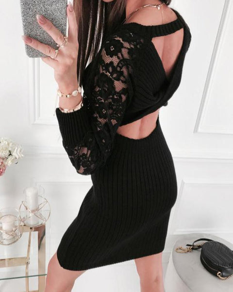 Cut Out Backless Lace Mini Dress