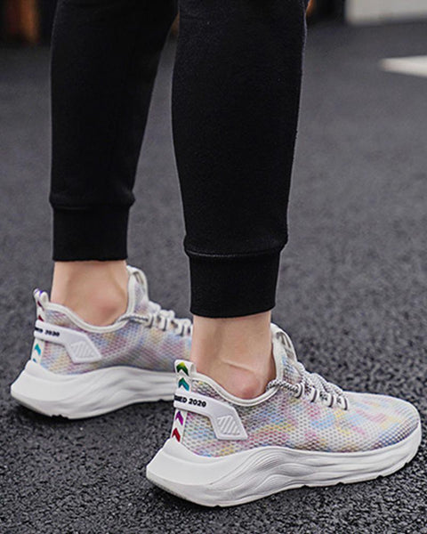 Colorblock Lace Closure Breathable Sneakers