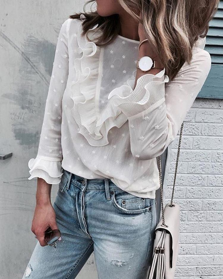 Dots Layered Ruffles Keyhole Back Blouse