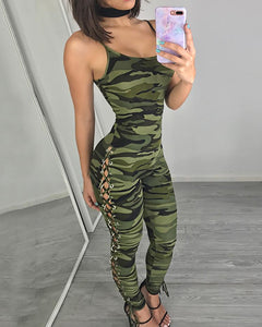 Stylish Camouflage Printed Side Lace Up Jumpsuit