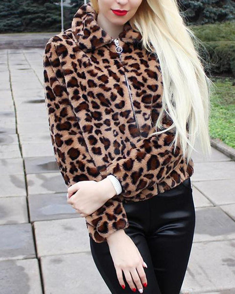 Leopard Zip Front Fleece Jacket
