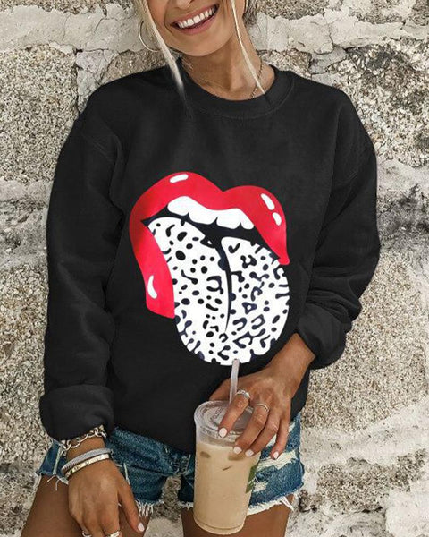 Lip Letter Print Long Sleeve Casual Sweatshirt