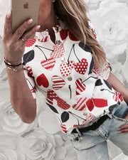 Long Sleeve Cherry Print Casual Shirt