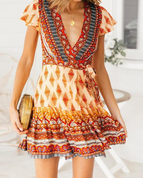 Ethnic Print Tied Waist Flounced Dress