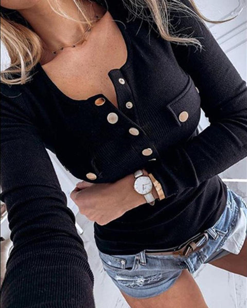 Solid Button-Up Knit Top