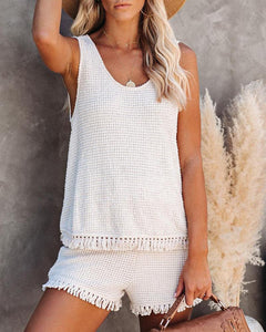 Knitted Tassel Hem Top & Shorts Set