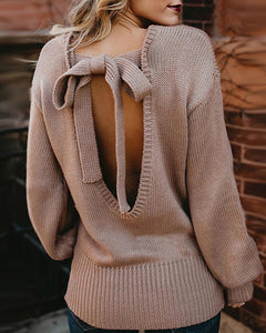 Knitted Backless Knotted Lantern Sleeve Sweater