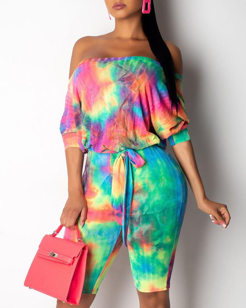 Off Shoulder Tie-dyed Print Romper