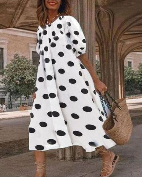 Puffed Sleeve Big Swing Dress