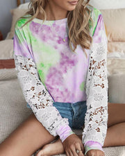 Crochet Lace Sleeve Tie Dye Print Casual Top