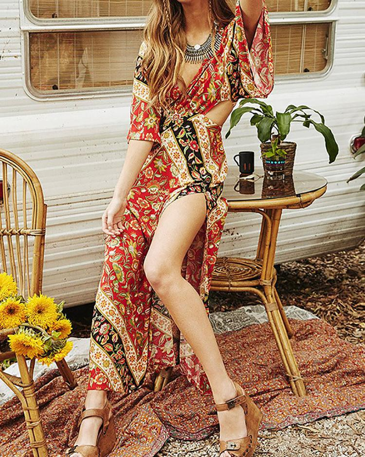 Vintage Floral Deep V Flare Sleeve High Slit Maxi Dress