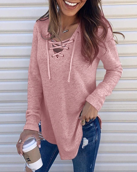 V Neck Tie Bandage Long Sleeve T-Shirt