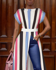 Colorful Striped Slit Casual Blouse