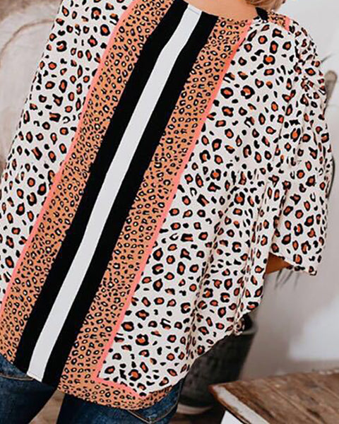 Cheetah Print Colorblock Batwing Sleeve Top