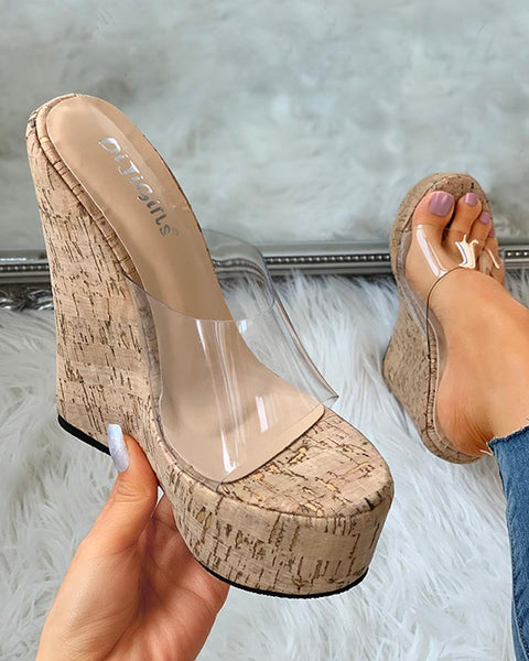 Transparent Detail Platform Wedge Sandals