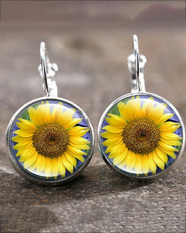 Time Gem Cabochon Floral Earrings