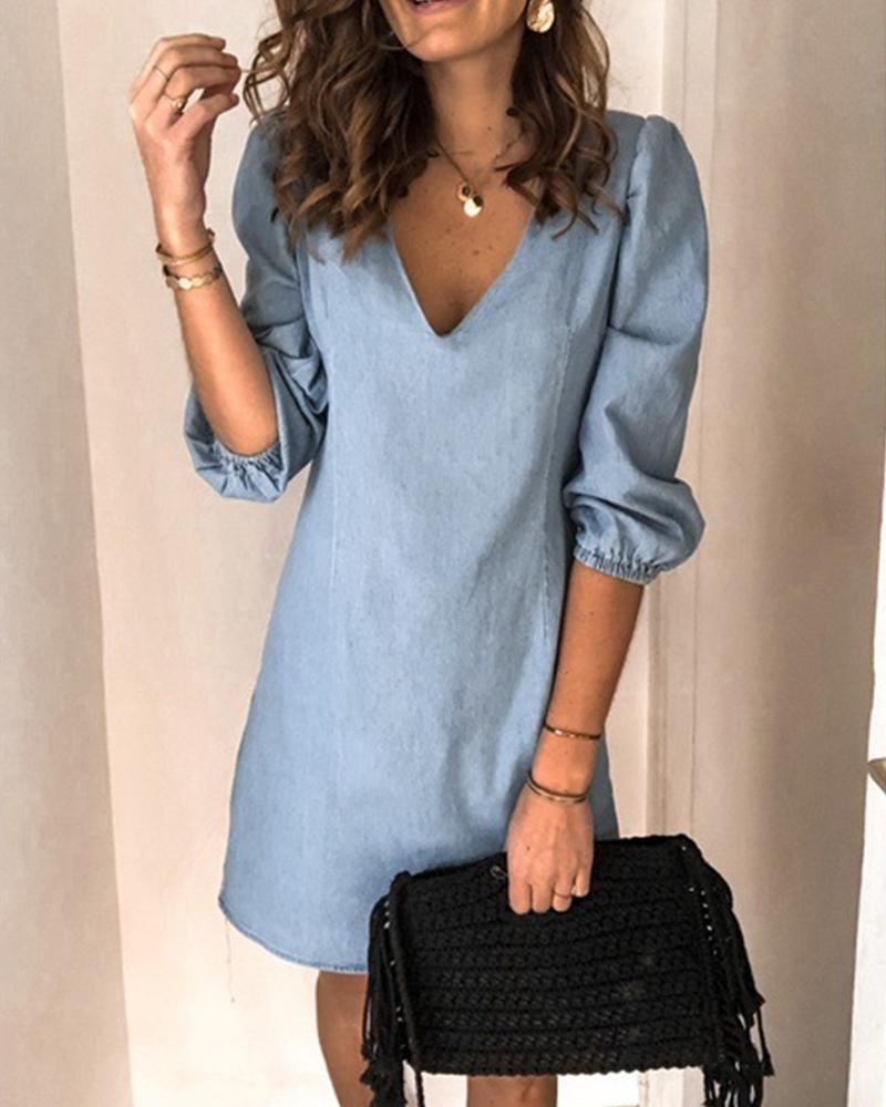 Brief Temperament Plus Size Jean Dress