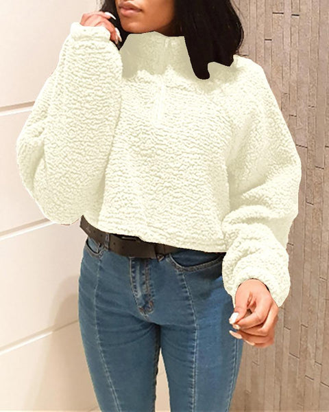 Long Sleeve Fluffy Zipper Design Crop Top