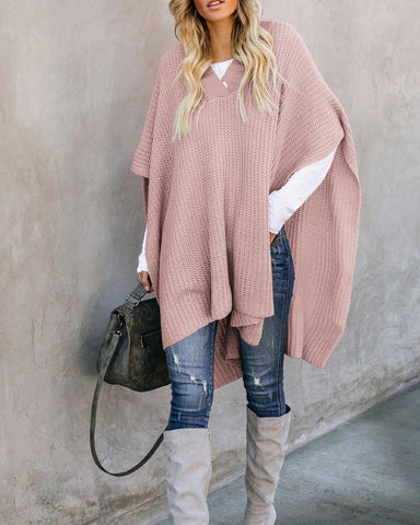 Solid V Neck Sweater Cape