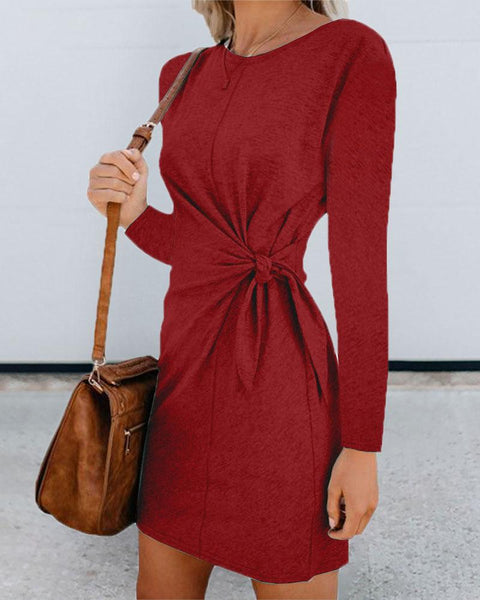 Knotted Design Round Neck Long Sleeve Dress