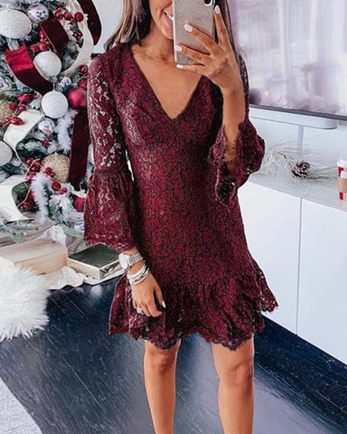 Lace Flared Sleeve Skinny Ruffles Hem Mini Dress