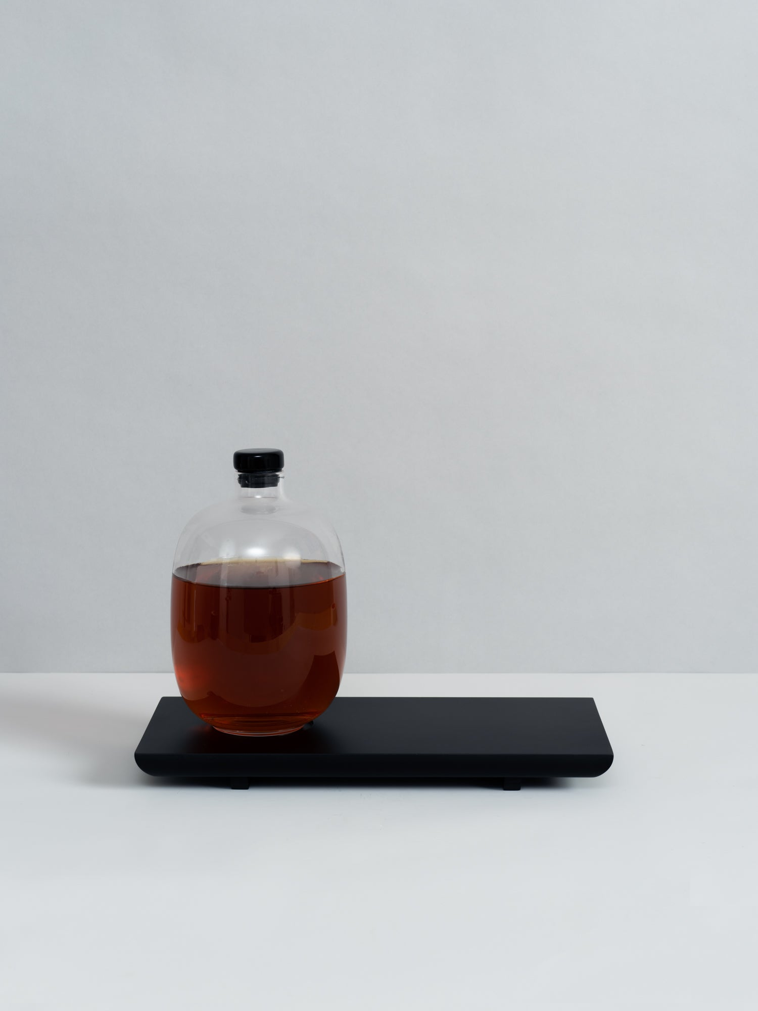 Glass Decanter with Wooden Tray