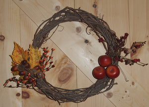 Autumn Grapevine Wreath - Apples & Acorns